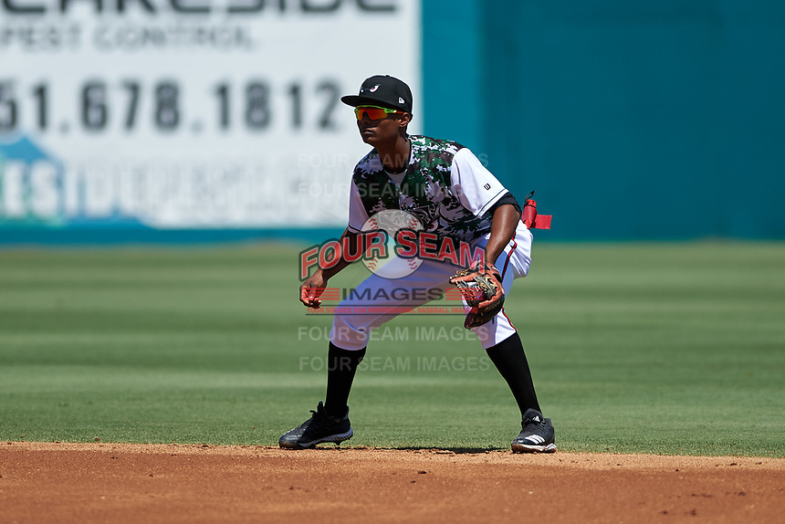 Lake Elsinore Storm second baseman Esteury Ruiz (12) during a California League game against the Inland Empire 66ers on April 14, 2019 at The Diamond in Lake Elsinore, California. Lake Elsinore defeated Inland Empire 5-3. (Zachary Lucy/Four Seam Images)