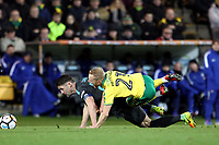 James Maddison of Norwich City goes down after a challenge from Gary Cahill of Chelsea during Norwich City vs Chelsea, Emirates FA Cup Football at Carrow Road on 6th January 2018