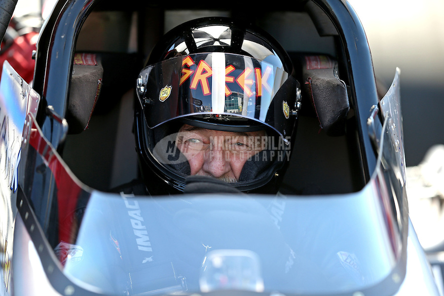 Mar. 15, 2013; Gainesville, FL, USA; NHRA top fuel dragster driver Chris Karamesines during qualifying for the Gatornationals at Auto-Plus Raceway at Gainesville. Mandatory Credit: Mark J. Rebilas-