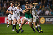 16th March 2018, Ricoh Arena, Coventry, England; Womens Six Nations Rugby, England Women versus Ireland Women; Louise Galvin of Ireland is tackled by Danielle Waterman of England