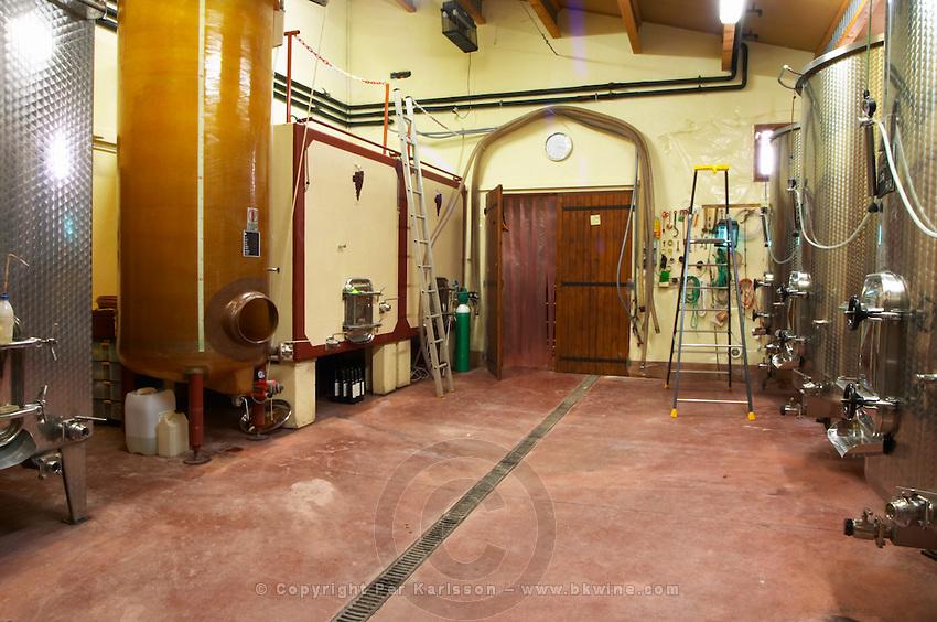 Domaine Mas Cal Demoura, in Jonquieres village. Terrasses de Larzac. Languedoc. Fibreglass vats. France. Europe.