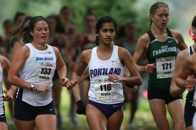 October 27, 2012; Portland, OR, USA; Portland Pilots runner Natasha Verma (116) during the WCC Cross Country Championships at Fernhill Park.