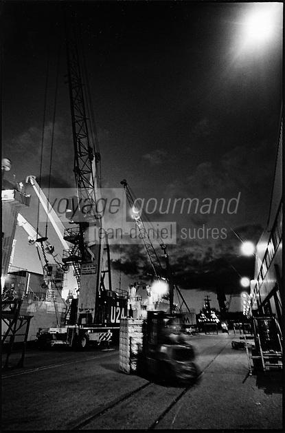 Europe/France/Provence-Alpes-Côte d'Azur/13/Bouches-du-Rhône/Marseille: Déchargement des cargos au port de commerce la nuit