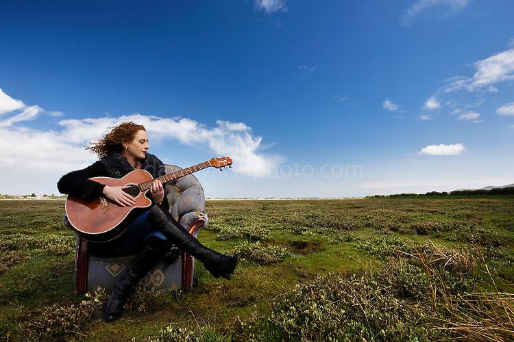 Singer-songwriter Briana Corrigan on Bull Island, 16/5/2009