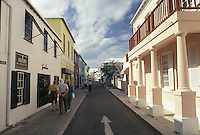 Bermuda, St. George's Parish, Shops along Water Street in St George in Bermuda.