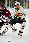 22 November 2011: University of Vermont Catamount defenseman Nick Bruneteau, a Sophomore from Omaha, NB, in action against the University of Massachusetts Minutemen at Gutterson Fieldhouse in Burlington, Vermont. The Catamounts defeated the Minutemen 2-1 in their annual pre-Thanksgiving meeting of the Hockey East season. Mandatory Credit: Ed Wolfstein Photo