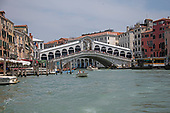High resolution view of the Rialto Bridge from a water taxi in the middle of the Canal Grande (Grande Canal) in Venice, Italy during the noon hour on Sunday, May 27, 2018.<br /> Credit: Ron Sachs / CNP