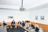 From left at end of table, Robert Filipp, Philippe Douste-Blazy, professor Rifat Atun, and professor Ashish K. Jha speak about the possibility of creating a 2017 global health conference during Douste-Blazy's visit to Harvard University's T. H. Chan School of Public Health in Boston, Massachusetts, USA. Jha is the director of the Harvard Global Health Institute, the K.T.Li Professor at the Harvard T.H. Chan School of Public Health, and a professor of medicine at Harvard Medical School. Filipp is the president of the Innovative Finance Foundation and helped organize Douste-Blazy's visit to Harvard. Atun is the director of the Global Health Systems Cluster and a Professor of Global Health Systems at the School of Public Health. The visit is part of his campaign to become Director General of the World Health Organization. During the visit, he met with professors, students, and visiting scholars, including former Ministers of Health from England and Brazil. Doutse-Blazy is Under-Secretary-General and Special Adviser on Innovative Financing for Development in the United Nations and chairman of UNITAID. He served as Minister of Health, Minister of Culture, and Foreign Minister in the French government and was also mayor of Lourdes and Toulouse.