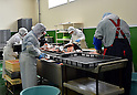 March 4, 2016, Otsuchi-cho, Japan - Workers go about their business at a fish processing plant that has resumed operation in Otsuchi-cho, Iwate prefecture, northeast of Japan on March 3, 2016. A magnitude 9.0 earthquake and ensuing tsunami left 1,300 residents dead or missing in their wake on March 11, 2011, in this coastal town.?Japan marks the five-year anniversary of the disaster on Friday next week. (Photo by Natsuki Sakai/AFLO) AYF -mis-