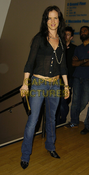 """JULIETTE LEWIS.At the UK Film Premiere of """"Little Fish"""",.Curzon Soho, London, England, 16th July 2006..full length juliet black top jeans see through sheer shirt  beads necklace.Ref: CAN.www.capitalpictures.com.sales@capitalpictures.com.©Can Nguyen/Capital Pictures"""