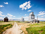 Three grain elevators, Corral, Idaho.
