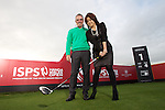 ISPS Handa Wales Open Announcement at the Celtic Manor Resort..Paul McGinley gives a pointer to Midori Miyazaki, Executive Director International Affairs of ISPS, the new tournament sponsor..28.11.11.©Steve Pope