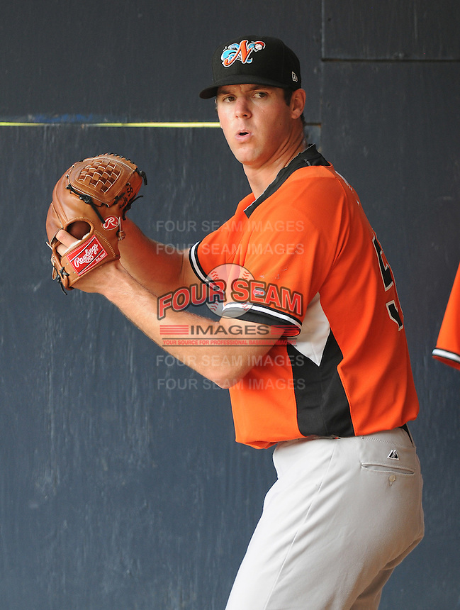 Pitcher Rick Vandenhurk (56) of the Norfolk Tides, International League affiliate of the Baltimore Orioles, prior to a game against the Scranton/Wilkes-Barre Yankees on June 20, 2011, at PNC Park in Moosic, Pennsylvania. (Tom Priddy/Four Seam Images).
