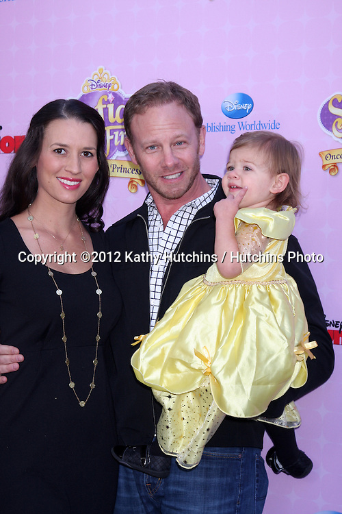 "LOS ANGELES - NOV 10:  Erin Ludwig, Mia Loren Ziering, Ian Ziering arrives at the ""Sofia The First: Once Upon a Princess"" Premiere And Story Book Launch at Walt Disney Studios on November 10, 2012 in Burbank, CA"
