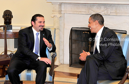 United States President Barack Obama meets Prime Minister Saad Hariri of Lebanon in the Oval Office of the White House in Washington, D.C. on Monday, May 24, 2010. This is the Prime Minister's first official visit to Washington.  .Credit: Ron Sachs / Pool via CNP