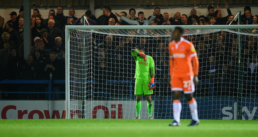 Blackpool's Mark Howard, left, reacts after Rochdale's second goal, scored by Rochdale's Ian Henderson<br /> <br /> Photographer Chris Vaughan/CameraSport<br /> <br /> The EFL Sky Bet League One - Rochdale v Blackpool - Wednesday 26th December 2018 - Spotland Stadium - Rochdale<br /> <br /> World Copyright © 2018 CameraSport. All rights reserved. 43 Linden Ave. Countesthorpe. Leicester. England. LE8 5PG - Tel: +44 (0) 116 277 4147 - admin@camerasport.com - www.camerasport.com
