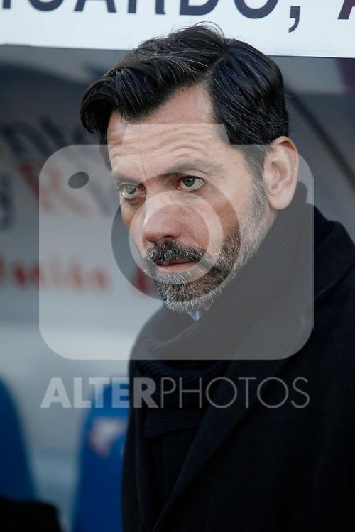 Getafe´s coach Quique Sanchez Flores during 2014-15 La Liga match at Alfonso Perez Coliseum stadium in Getafe, Spain. February 08, 2015. (ALTERPHOTOS/Victor Blanco)