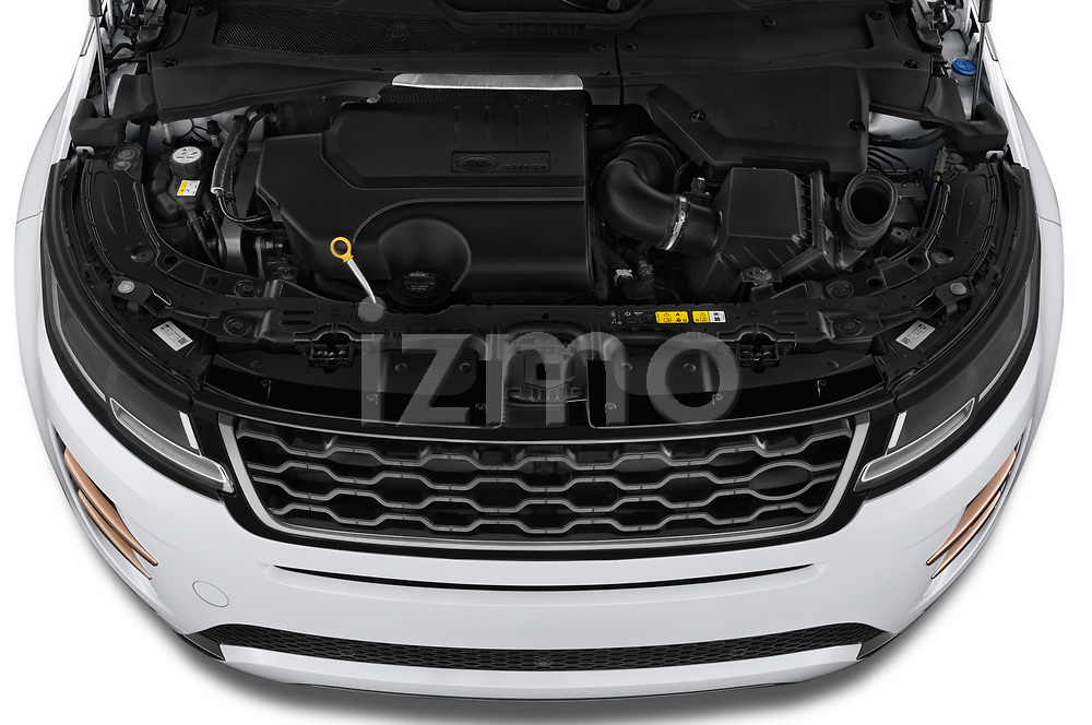 Car Stock 2019 Land Rover Range-Rover-Evoque Dynamic 5 Door SUV Engine  high angle detail view