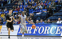December 12, 2015 - Colorado Springs, Colorado, U.S. -  Air Force guard, CJ Siples #2, brings the ball across half court during an NCAA basketball game between the Army West Point Black Knights and the Air Force Academy Falcons at Clune Arena, U.S. Air Force Academy, Colorado Springs, Colorado.  Army West Point defeats Air Force 90-80.