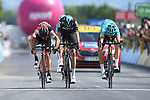 Jakob Fuglsang (DEN) Astana, Chris Froome (GBR) Team Sky, Richie Porte (AUS) BMC and Fabio Aru (ITA) Astana sprint for the finish line at the end of Stage 6 of the Criterium du Dauphine 2017, running 147.5km from Parc des Oiseaux - Villars-les-Dombes to La Motte-Servolex, France. 9th June 2017. <br /> Picture: ASO/A.Broadway | Cyclefile<br /> <br /> <br /> All photos usage must carry mandatory copyright credit (&copy; Cyclefile | ASO/A.Broadway)