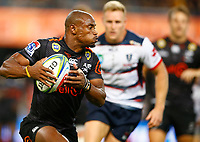 DURBAN, SOUTH AFRICA - MARCH 23: Makazole Mapimpi of the Cell C Sharks during the Super Rugby match between Cell C Sharks and Rebels at Jonsson Kings Park on March 23, 2019 in Durban, South Africa. Photo by Steve Haag / stevehaagsports.com