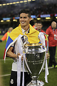 June 3rd 2017, Cardiff City Stadium, Wales; UEFA Champions League Final, Juventus FC versus Real Madrid; James Rodriguez celebrates with the trophy after their victory