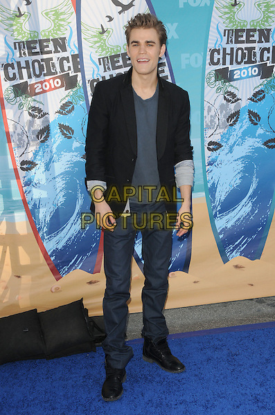 PAUL WESLEY.Fox Teen Choice 2010 Awards held at the Universal Ampitheatre in Universal City, California, USA..August 8th, 2010    .full length jacket top jeans denim black blue  .CAP/RKE/DVS.©DVS/RockinExposures/Capital Pictures.