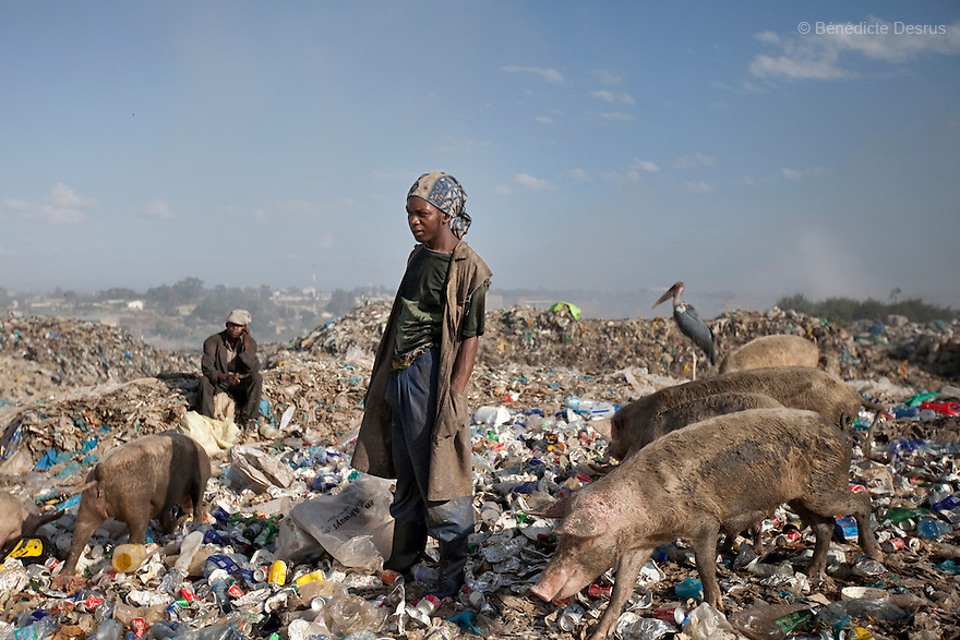 13 february 2013 - Dandora dumpsite, Nairobi, Kenya - People and pigs search through trash at the Dandora dumpsite, one of the largest and most toxic in Africa. Located near slums in the east of the Kenyan capital Nairobi, the open dump site was created in 1975 and covers 30 acres. The site receives 2,000 tonnes of unfiltered garbage daily, including hazardous chemical and hospital wastes. It is a source of survival for many people living in the surrounding slums, however it also harms children and adults' health in the area and pollutes the Kenyan capital. Photo credit: Benedicte Desrus