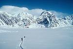 Alaska, Denali National Park, Mount Dan Beard, telemark skiers, Ruth Glacier, Don Sheldon Amphitheater, Alaska Range, Alaska, U.S.A., North America