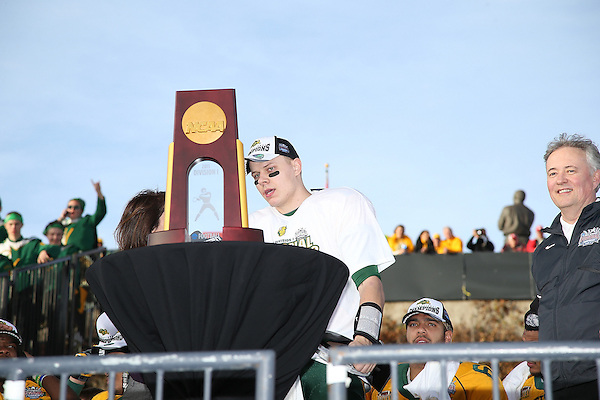 FRISCO, TX  JANUARY 4: North Dakota University State Bison Brock Jensen #16 quarterback and MVP of the game celebrates the win over Towson University Tigers at Toyota Stadium  in Frisco on January 4, 2014 in Frisco, TX. NDSU won 35-7. Photo by Rick Yeatts