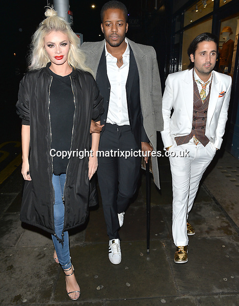 NON EXCLUSIVE PICTURE: MATRIXPICTURES.CO.UK<br /> PLEASE CREDIT ALL USES<br /> <br /> WORLD RIGHTS <br /> <br /> TOWIE stars Chloe Sims, Vas Morgan and Liam Blackwell are spotted during a night out at Raffles Chelsea, in London. <br />  <br /> MARCH 8th 2016<br /> <br /> REF: LTN 16647