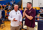 WATERBURY, CT. 09 December 2018-120918 - Two of the best Crosby Head coach and Sacred Heart Head coach talk before the start of the title game against the two teams during the annual Waterbury Boys Basketball Jamboree at Kennedy High School in Waterbury on Sunday. Bill Shettle Republican-American