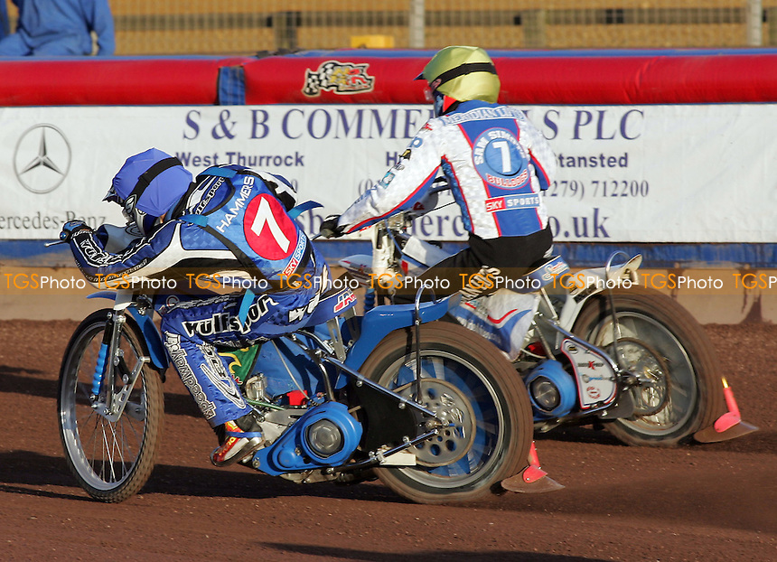 Heat 2 - Tomicek (blue), Simota - Lakeside Hammers vs Reading Bulldogs - Elite League Speedway at Arena Essex - 20/06/07 - MANDATORY CREDIT: Gavin Ellis/TGSPHOTO - SELF-BILLING APPLIES WHERE APPROPRIATE. NO UNPAID USE -  Tel: 0845 0946026