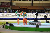 SCHAATSEN: HEERENVEEN: 28-12-2013, IJsstadion Thialf, KNSB Kwalificatie Toernooi (KKT), DJ, ©foto Martin de Jong