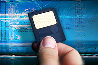 Smart card for digital memory on techno background