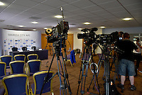 Pictured: Gathered members of the press wait in the press room Thursday 21 July 2016<br /> Re: The press conference to announce the new US owners of Swansea City FC, which was due to take place at the Liberty Stadium, has been cancelled.