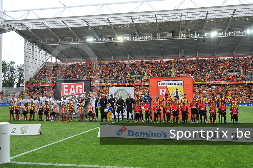 20190803 - LENS , FRANCE : Illustration picture shows the line up of both teams pictured during the soccer match between Racing Club de LENS and En Avant Guingamp , on the second matchday in the French Dominos pizza Ligue 2 at the Stade Bollaert Delelis stadium , Lens . Saturday 3 th August 2019 . PHOTO DIRK VUYLSTEKE | SPORTPIX.BE