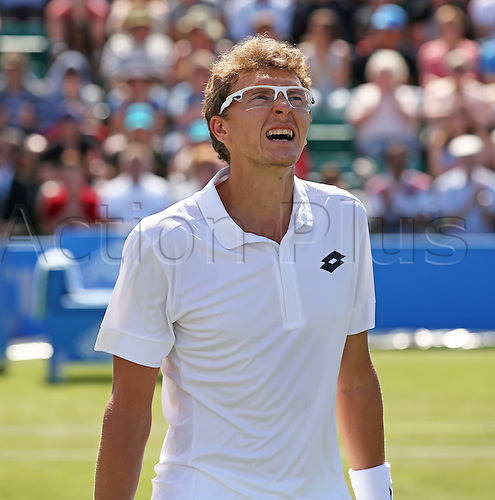 27.06.2015.  Nottingham, England. Aegon Nottingham Open Tennis Tournament. A moment of anguish for Denis Istomin (UZB) as he battles to win his first ATP title against Sam Querrey (USA)
