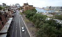 14 SEP 2009 - SYDNEY, AUS - Sights of Sydney from left to right, George Street in The Rocks, Sydney Harbour Bridge, Sydney Opera House and Circular Quay (PHOTO (C) NIGEL FARROW)