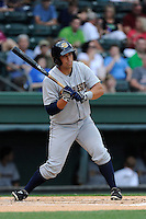Designated hitter Kale Sumner (23)of the Charleston RiverDogs in a game against the Greenville Drive on Wednesday, June 11, 2014, at Fluor Field at the West End in Greenville, South Carolina. Greenville won, 6-3. (Tom Priddy/Four Seam Images)