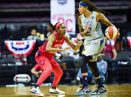 Washington, DC - May 27, 2018: Minnesota Lynx guard Lindsay Whalen (13) is guarded by Washington Mystics guard Ariel Atkins (7) during game between the Mystics and Lynx at the Capital One Arena in Washington, DC. (Photo by Phil Peters/Media Images International)
