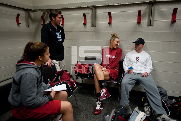 SPOKANE, WA - MARCH 27, 2011: Practice preparations during the off-day session, Stanford Women's Basketball NCAA West Regionals on March 27, 2011.