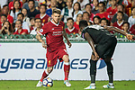 Liverpool FC defender Alberto Moreno (L) competes for the ball with Leicester City FC midfielder Daniel Amartey during the Premier League Asia Trophy match between Liverpool FC and Leicester City FC at Hong Kong Stadium on 22 July 2017, in Hong Kong, China. Photo by Weixiang Lim / Power Sport Images