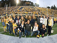 California Olympians huddle together for group photo before the game against Washington at Memorial Stadium in Berkeley, California on November 2nd, 2012.  Washington Huskies defeated California, 13-21.