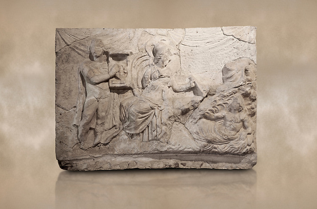 Roman relief sculpture of the Myth of Marsyas. Roman 2nd century AD, Hierapolis Theatre.. Hierapolis Archaeology Museum, Turkey. Against an art background