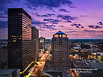 Photo of Downtown Dayton at dusk.