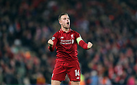 Liverpool's Jordan Henderson celebrates at the final whistle <br /> <br /> Photographer Rich Linley/CameraSport<br /> <br /> UEFA Champions League Semi-Final 2nd Leg - Liverpool v Barcelona - Tuesday May 7th 2019 - Anfield - Liverpool<br />  <br /> World Copyright &copy; 2018 CameraSport. All rights reserved. 43 Linden Ave. Countesthorpe. Leicester. England. LE8 5PG - Tel: +44 (0) 116 277 4147 - admin@camerasport.com - www.camerasport.com