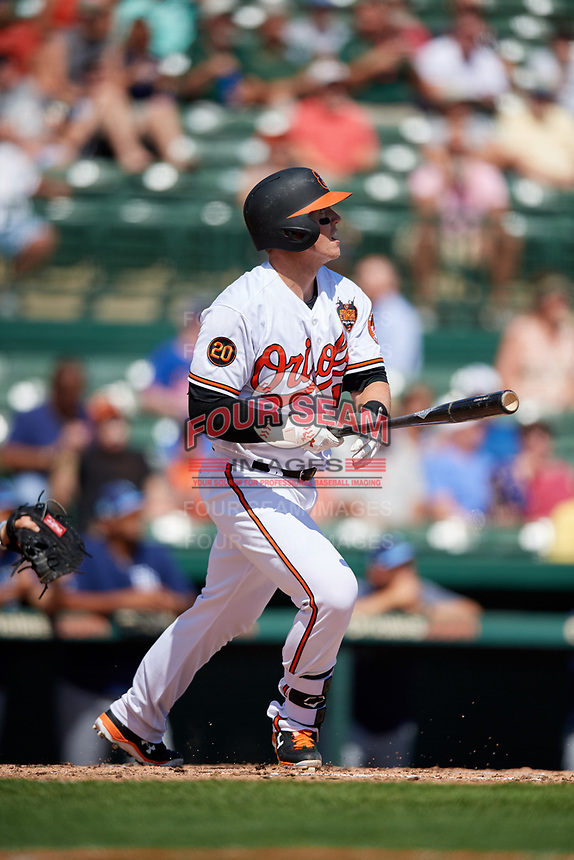 Baltimore Orioles catcher Chance Sisco (15) hits a home run in the bottom of the second inning during a Grapefruit League Spring Training game against the Tampa Bay Rays on March 1, 2019 at Ed Smith Stadium in Sarasota, Florida.  Rays defeated the Orioles 10-5.  (Mike Janes/Four Seam Images)