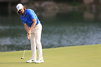 Tommy Fleetwood (ENG) on the 18th green during the 2nd round of the WGC HSBC Champions, Sheshan Golf Club, Shanghai, China. 01/11/2019.<br /> Picture Fran Caffrey / Golffile.ie<br /> <br /> All photo usage must carry mandatory copyright credit (© Golffile   Fran Caffrey)
