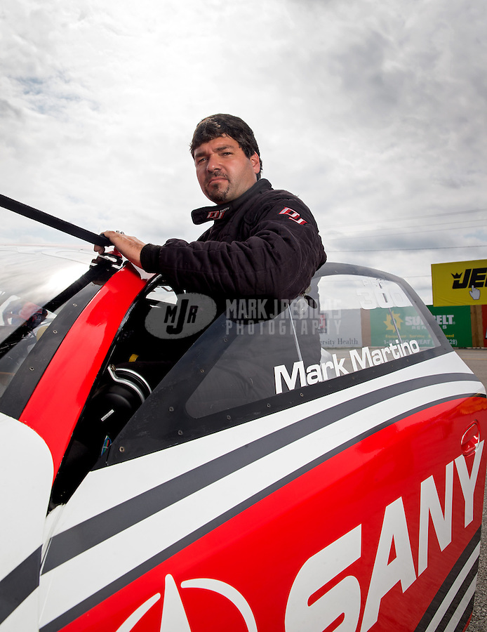 Sept. 1, 2013; Clermont, IN, USA: NHRA pro stock driver Mark Martino during qualifying for the US Nationals at Lucas Oil Raceway. Mandatory Credit: Mark J. Rebilas-